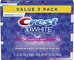 Crest 3D White Toothpaste Radiant Mint, 3.8 oz (Pack of 3) (Packaging May Vary)