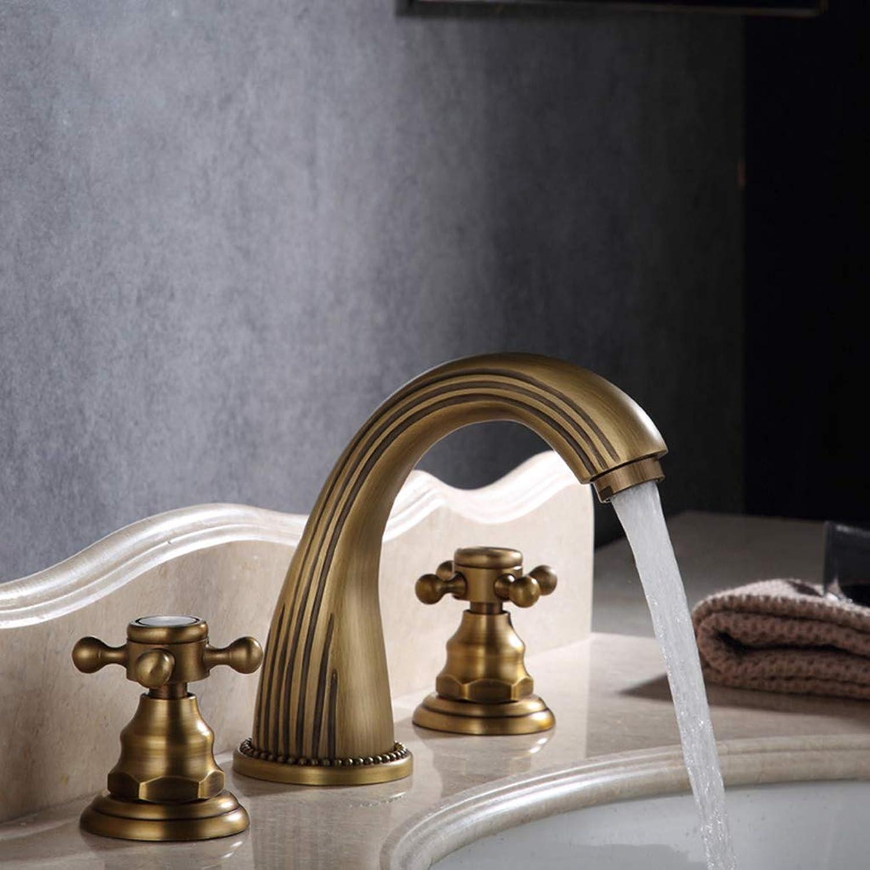 Muzi-Faucet Europische Antike Dreiteilige DREI-Loch-Wasserhahn, Home Hotel Einfache Leichte Design-Wasserhahn, Modernes Restaurant, Bad, Küchenarmatur,schwarz
