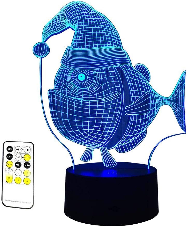 moda clasica LLG-XYD Lámpara Lámpara Lámpara de ilusión 3D para Peces de Navidad 7 Colors cambiantes Control Remoto luz Nocturna para el Dormitorio del bebé decoración Regalo de cumpleaos  mejor precio