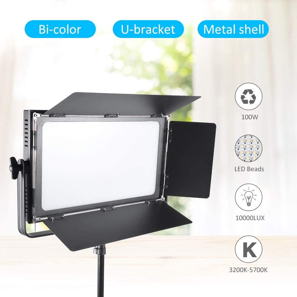 Studio Video Lighting Kit US Plug Outdoor LED Video Light Dimmable Bi-Color 100W Photography Stepless Adjustable Fill Light with Metal Baffles for Portrait 3200K-5700K CRI 95+