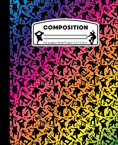 Composition: Skateboard Rainbow and Black Marble Composition Notebook for Boys or Girls. Skateboarding Skater Wide Ruled Baseball Book 7.5 x 9.25 in, ... kids, elementary school students and teachers
