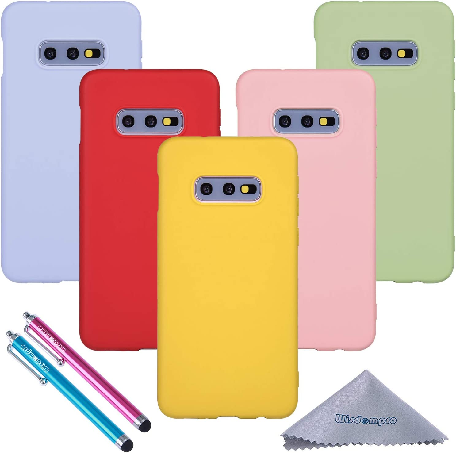 Galaxy S10e Case, Wisdompro Bundle of 5 Pack Extra Thin Slim Jelly Soft TPU Gel Protective Case Cover for Samsung Galaxy S10e (Green, Light Blue, Pink, Yellow, Red)-Candy Color