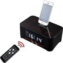 PowMax WW-47 Digital Dual Alarm FM Clock with Radio Bluetooth 4.0 Speaker, Battery Backup, Snooze and Sleep Timer, Large Display, NFC Compatibility, Lightning Dock for Iphone/Ipad/Ipod---Black