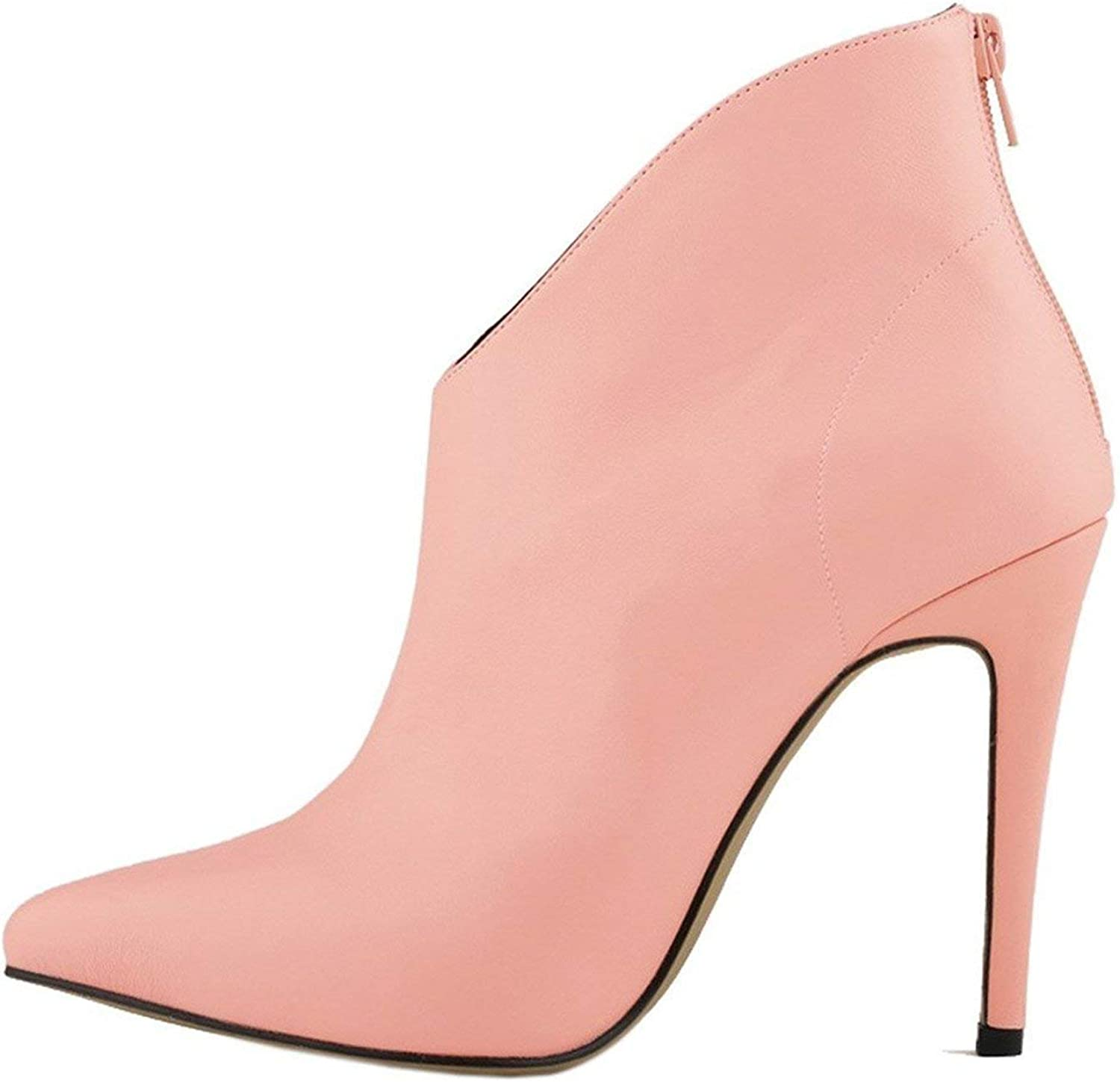 High end Womens Elegant and Simple Zip Slip On Pointed Toe Stiletto High Heel Pump shoes,8.5B(M) US,Pink