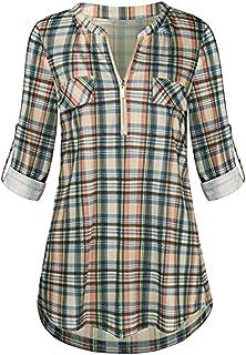 Xmiral Damesshirt, blouse, rolmouwen, ritssluiting, V-hals, plaid-tops