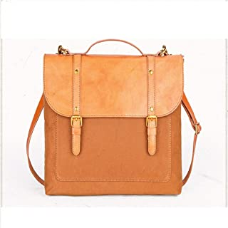 GLJJQMY Vintage Canvas Messenger Bag Laptop Bag Shoulder Bag Briefcase 14 Inch Handbag Shoulder Bag School Bag 37x9x29cm Briefcase (Color : Orange)