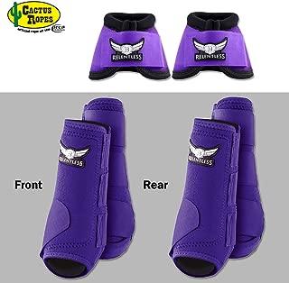 CACTUS ROPES MED Purple Relentless Trevor Brazile Front Rear Sport Bell Boot 6 Pack Horse