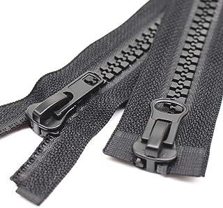 MebuZip 79 Inch #10 Large Two Way Separating Jacket Zipper Heavy Duty Plastic Zipper Black Resin Zippers for Sewing Coat J...