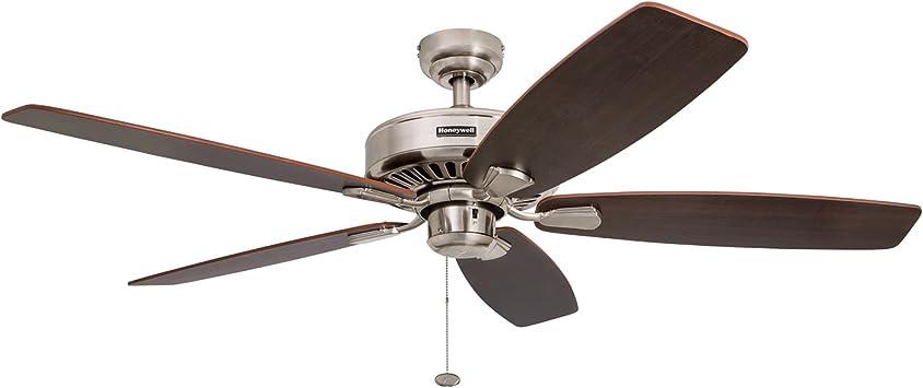 Honeywell Sutton 52 Inch Ceiling Fan Energy Star Five Reversible Burnt Maple Light Oak Blades Brushed Nickel Amazon Com
