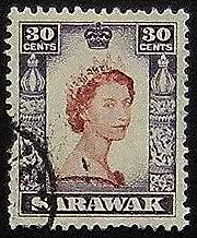 Queen Elizabeth, Sarawak -Handmade Framed Postage Stamp Art 20514AM