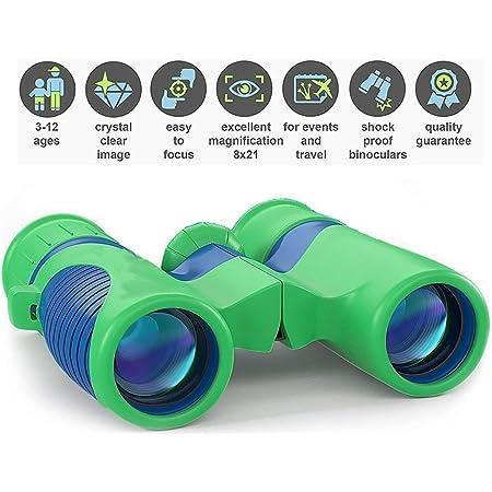 Newraturner Rubber 4x30mm Toy Binoculars for Kids Camping Waterproof Folding Small Kids Telescope for Bird Watching,Travel Blue- 01