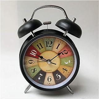 ミニマルなレトロな目覚まし時計、バッテリー駆動の超サイレント目覚まし時計、シンプルなデザインの横/机目覚まし時計 (Color : Black retro)