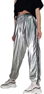 Stripe Track Pants Athletic Jogger Hip Hop Elastic Pants Metallic Trousers