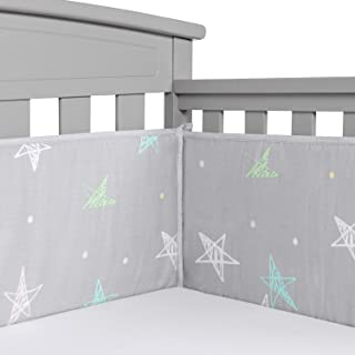 Designthology Baby Breathable 100% Cotton Muslin Crib Bumper Pads for Standard Cribs Machine Washable Padded Crib Liner, Gray Star, 4-Pieces
