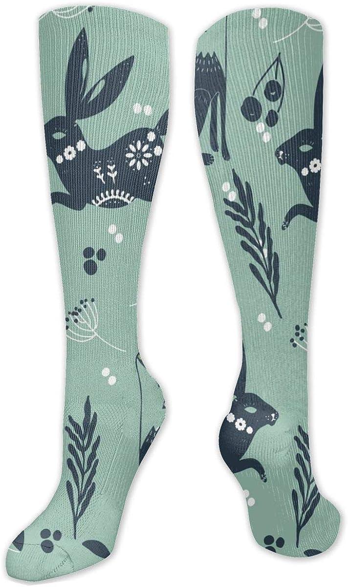 Folk Bunnies Pattern Knee High Socks Leg Warmer Dresses Long Boot Stockings For Womens Cosplay Daily Wear