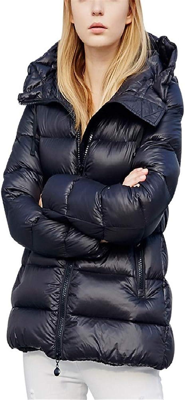 Dotoo Winter Women's Hooded Loose Black Long White Duck Down Jacket Polyester Fiber