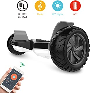 HYPER GOGO Off Road, Electric Self Balancing All Terrain Hoverboard with Built-in Speaker and LED Lights, UL2272 Certified, 8.5 Inch, Black and White