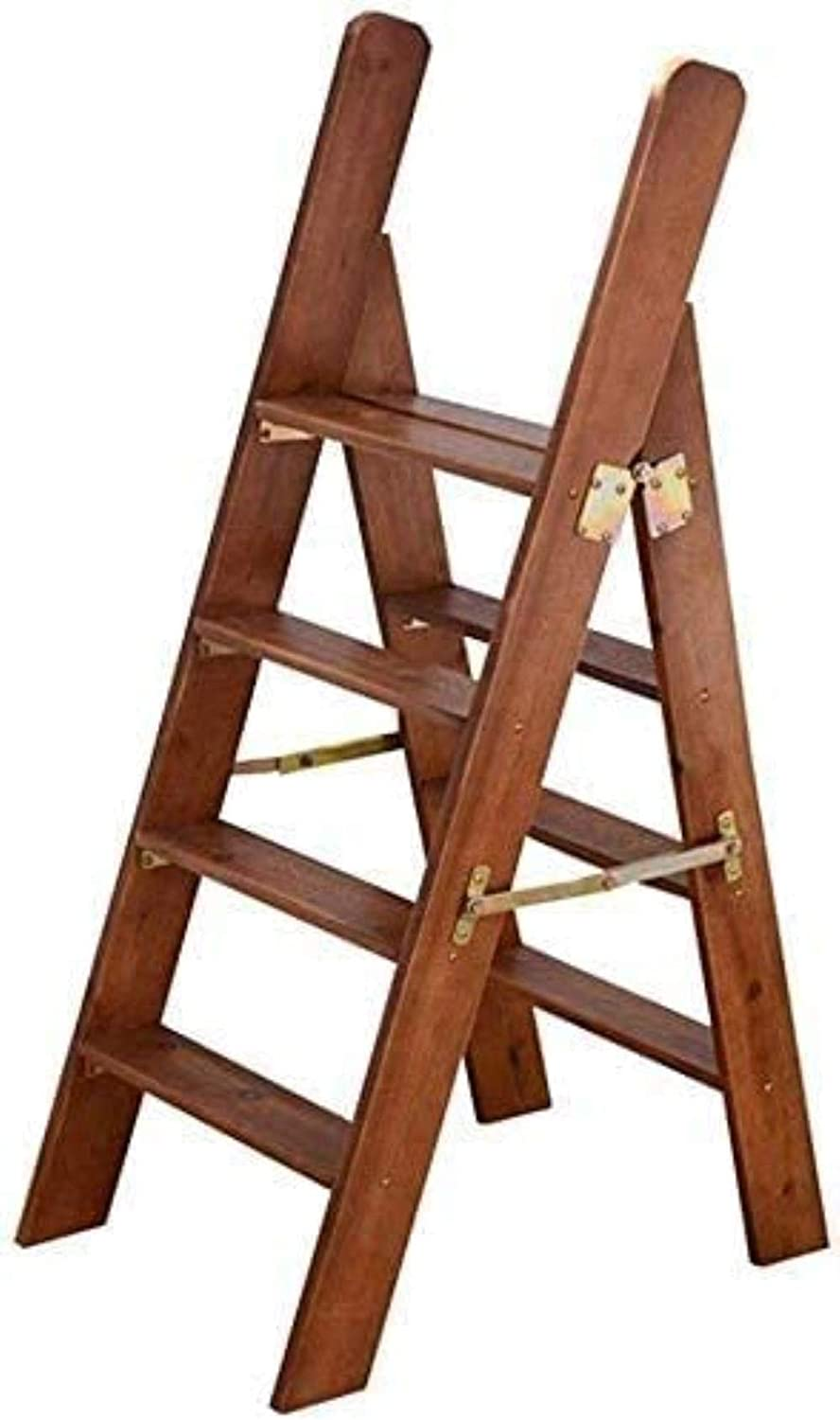 Spring new work one after another JYHQ Step Stool 70% OFF Outlet Solid Wood Folding Library 4 Steps Home Ladder