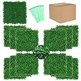 HOMCOR 12 PCS 20 x 20 Artificial Boxwood Hedge Panels UV