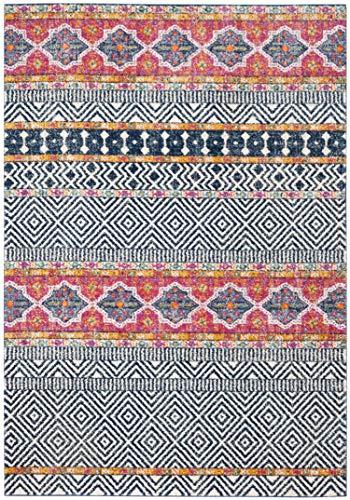 Safavieh Melanye - Alfombra (Polipropileno, 120 x 180 cm), Color Azul Marino y Marfil