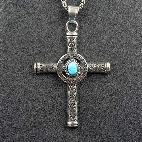 ZHIFUBA Co.,Ltd Necklace Necklace Retro Natural Blue Turquoises Cross Pendant Necklace Men Vintage 316L St Steel Religious Jesus Crucifix Male Jewelry
