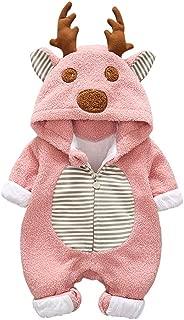 Baby Girl Boy Christmas Romper Jumpsuit, Toddler Kids Fleece Cartoon Winter Zipper Hoodies Bodysuit