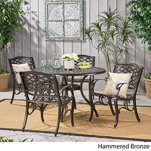 Hallandale Outdoor Furniture Dining Set, Cast Aluminum Table and Chairs for Patio or Deck (5-Piece Set)