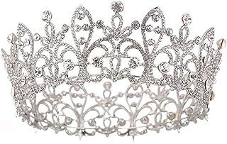 LiChaoWen Corona da Sposa Diadema di Cristallo for Le Spose delle Ragazze delle Donne del Partito Corona Circolare Complet...