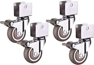 WSWJ 4pcs Furniture Casters, 2-Inch Universal Casters, U-Shaped Track Casters, for Trolleys, Tables, Tray Furniture, Shelv...