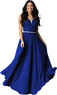 Women's A Line V Neck Lace Bodice Chiffon Prom Dresses Long Formal Evening Gown
