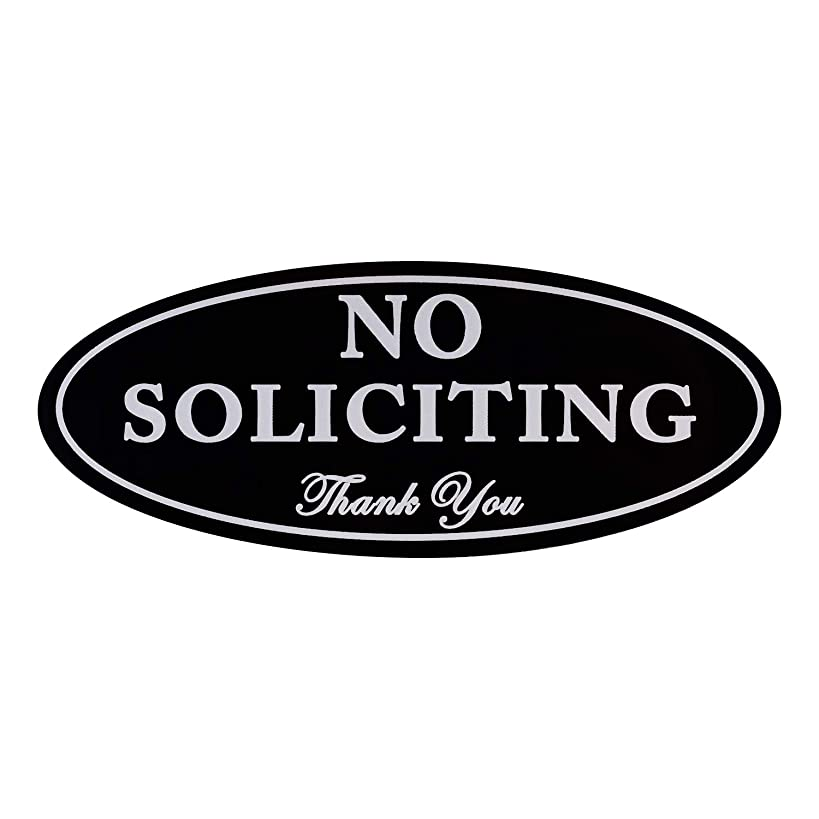 """Kichwit No Soliciting Sign with Magnets on The Back, Black, 2.8"""" x 7"""", Keeps Unwanted Visitors Away, No Deforming, Residue Free Adhesive Included"""