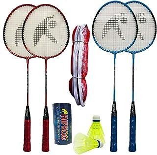 Hipkoo Sports Amazing Badminton Kit (Set of 4 Rackets, 3 Shuttles and Net)
