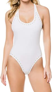 Women's Luxe Studs Cross-Back One-Piece Swimsuit w/Studs & Removable Soft Cups