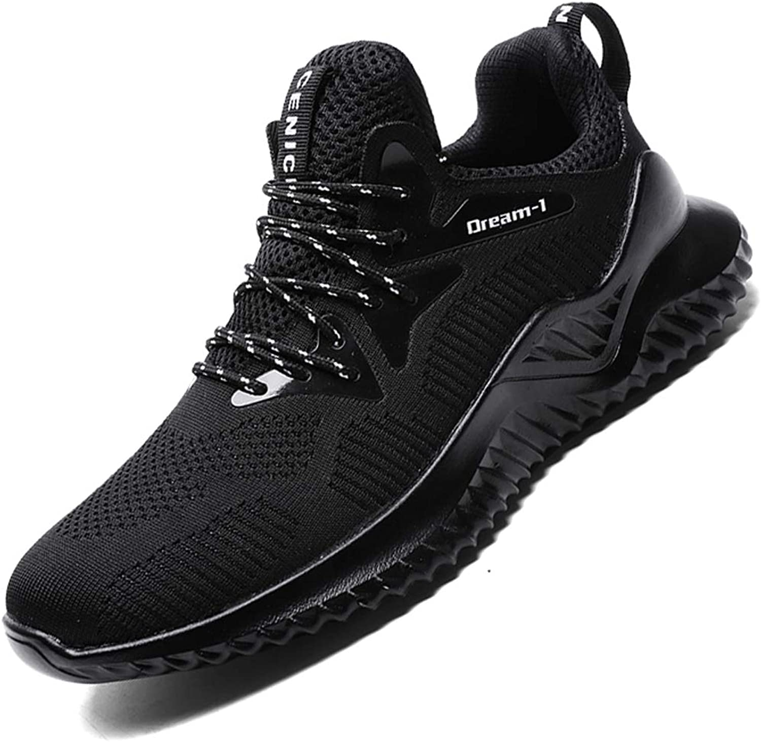 SKDOIUL All Black Sneakers for Men mesh Breathable Comfort Youth Boys Tennis shoes Athletic Walking shoes Gym Workout Trail Sneaker Size 12 (1810-black-46)