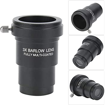 Qiterr Multi-Coated 2X Magnification Barlow Lens with 1.25inch Interface for Telescope Eyepiece All Metal Telescope 2X Teleconverter