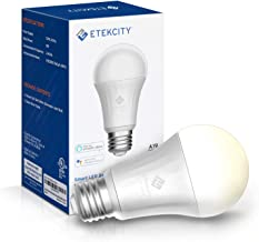 Etekcity Smart Light WiFi Dimmable Soft White LED Bulbs, Work with Alexa, Google Home and IFTTT, Easy Setup Schedule, A19 E26, 60W Equivalent, 806LM, 2700K, No Hub Required, UL Listed