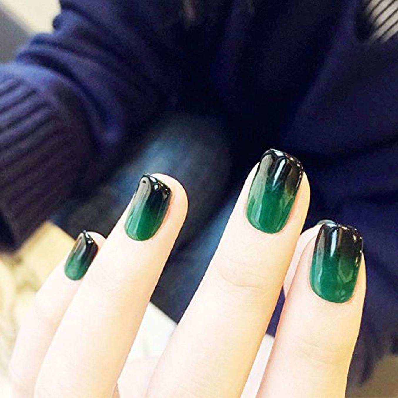 ジャグリングのれん匿名YuNail ネイルチップ 24枚  12別サイズ 手作りネイルチップ グラデーション 深緑 ショート、ネイルアート