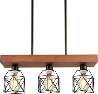 Rustic Wood Metal Chandelier Kitchen Island 3-Light...