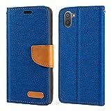 Sharp Aquos R3 Hülle, Oxford Leder Wallet Hülle mit Soft TPU Back Cover Magnet Flip Hülle für Sharp Aquos R3