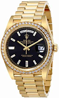 Oyster Perpetual Day-Date Black Dial Automatic Mens 18 Carat Yellow Gold President Watch 228348BKDP