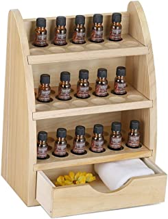 LIANTRAL Essential Oils Storage Rack, Wooden Nail Polish Display Holder Organizer- 45 Slots for 10/15/20/30ml Bottles (Natural Wood Color)