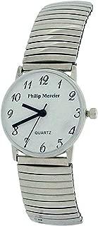 Philip Mercier Ladies Silvertone Expander Bracelet Strap Dress Watch MC46C