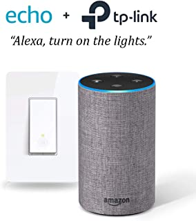 Echo (2nd Gen) - Heather Gray with Smart Wi-Fi Light Switch by TP-Link