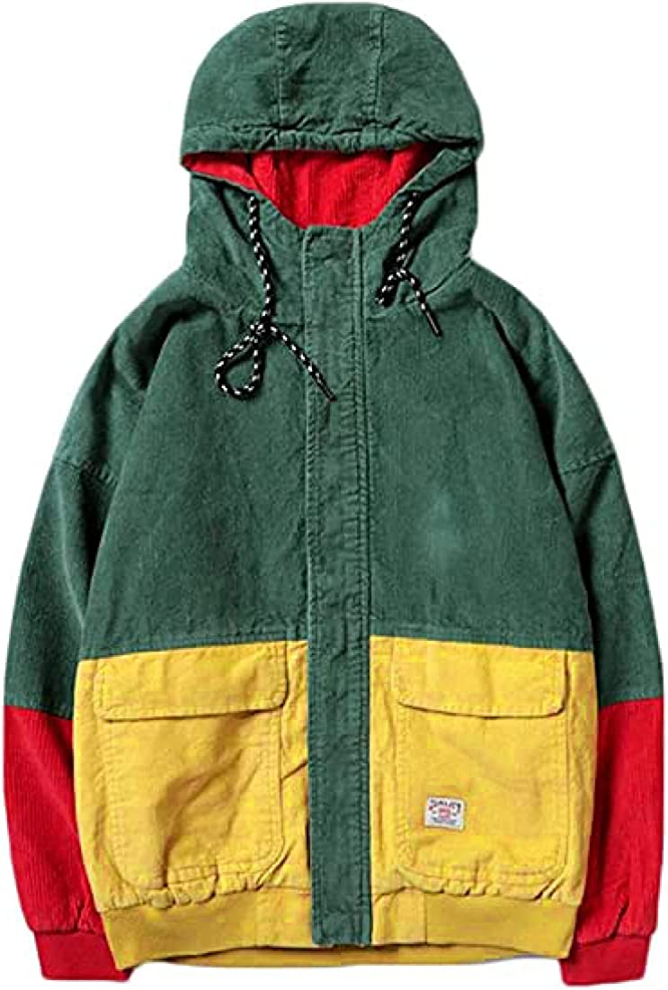 Wofupowga Men's Color Block Hooded Corduroy Jacket Retro Outwear