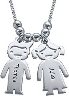 MyNameNecklace Personalized Engraving Charms Mothers Necklace-Engraved Boy/Girl Charm Jewelry Gift for Mom, Wife, Mother Day