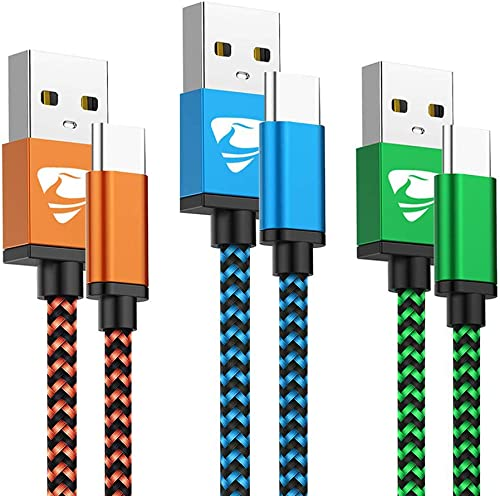 Type C Cable Fast USB C Charging 6FT 3Pack Power Cord Braided Phone Charger for Samsung Galaxy A10e A10 A11 A20 A21 A...