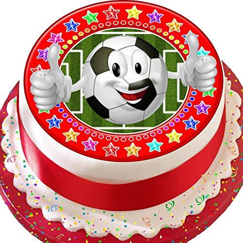 Fußball Emoji-Rot Star Bordüre 19,1cm Birthday vorgeschnittenen Essbarer Zuckerguss Kuchen Topper Dekoration