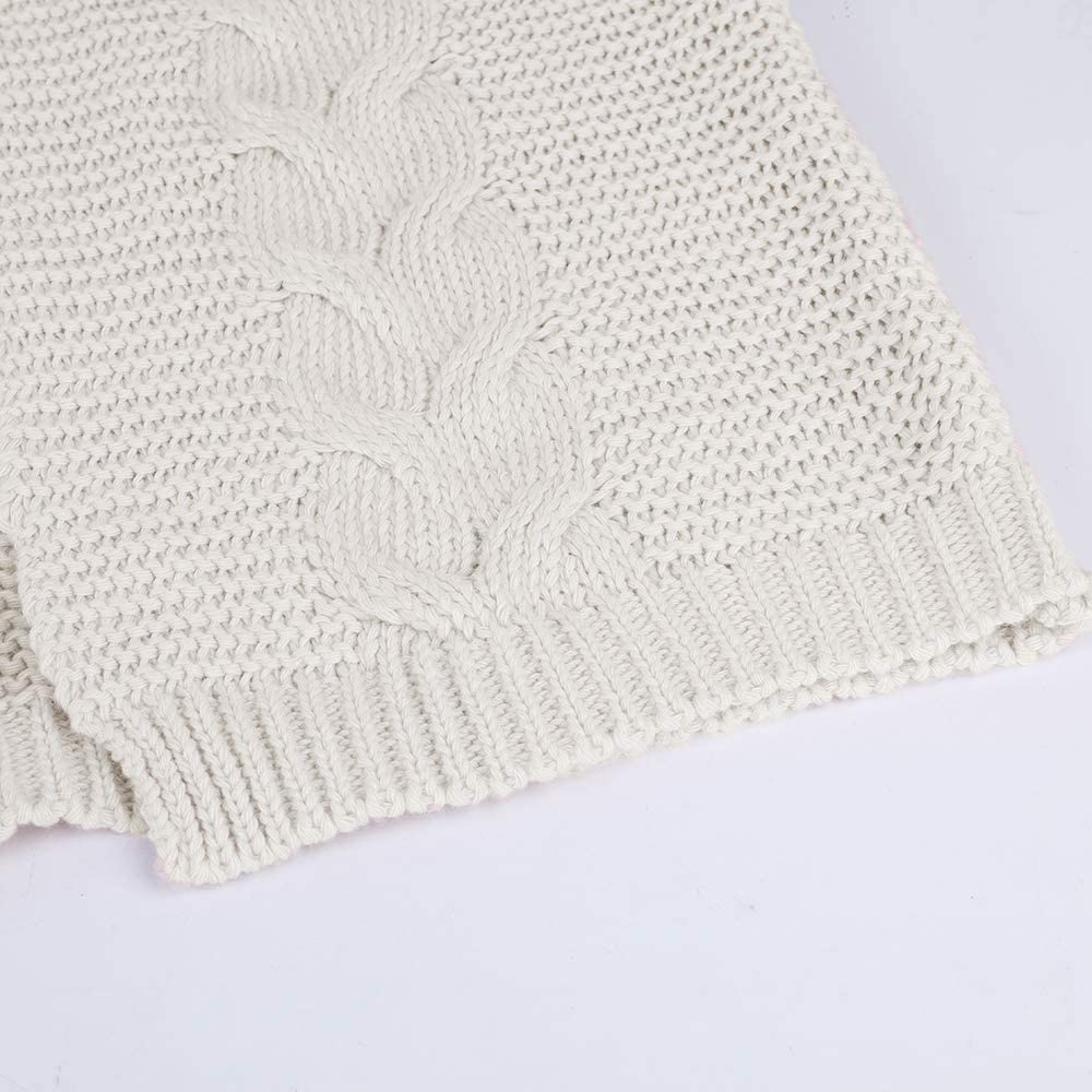 MoneRffi Damen Strickjacke Pullover Einfarbig Open Front Cardigan Langarm Fashion Cardigan Sweatjacke Tops Outwear Coat C-weiß
