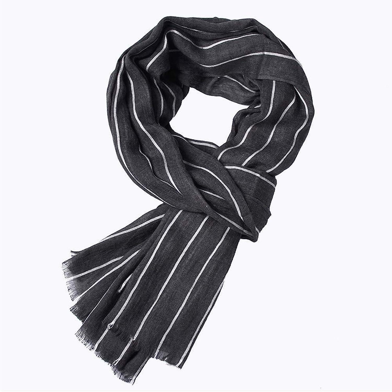 Men's Scarf Autumn and Winter Striped Tassel Warm Shawl Scarf (color   Black)