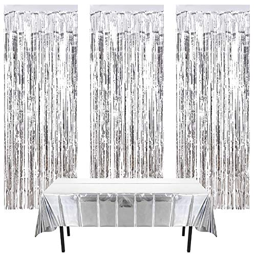 Nigaga 3Pcs Metallic Tinsel Curtains and Silver Foil Tablecloth 1.37m*2.74m,Fringe Shimmer Curtain for Birthday Wedding Party Halloween Xmas Door Window Decorations (Silver)